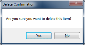 Delete confirmation window