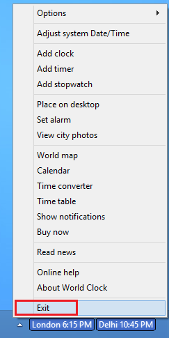 Click the Exit option on World Clock right-click menu to terminate it