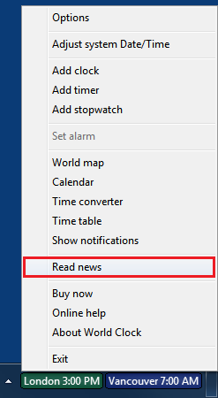 Open News Reader from World Clock menu using the Read news option