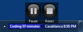Pause and Reset buttons in stopwatch control panel