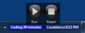 Run and Reset buttons in stopwatch control panel