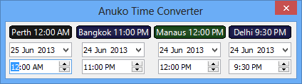 World Clock Time Converter with four locations on Windows 8