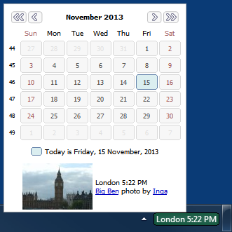World Clock showing a tooltip with calendar