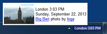 World Clock showing a tooltip for London clock