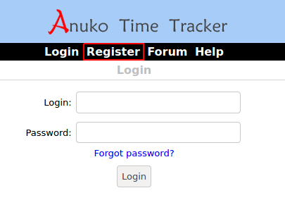 Use the Register link to create an account in Time Tracker