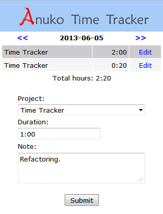 Mobile time entry page in Time Tracker