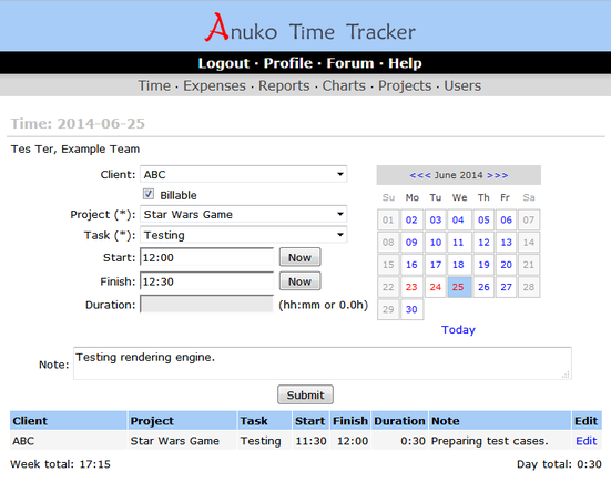 Anuko Time Tracker Screen shot