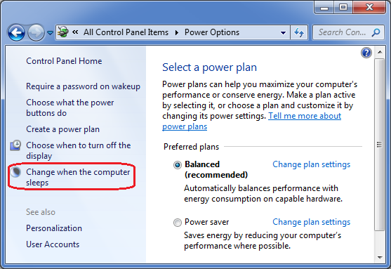 Power Options applet in Control Panel